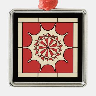 Art Deco Red Splash Silver-Colored Square Decoration