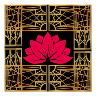 Art Deco Retro Lotus (save & black)
