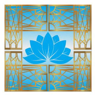 Art Deco Retro Lotus (sky blue)