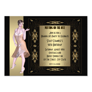 Art Deco Roaring 20's Birthday Party 11 Cm X 16 Cm Invitation Card