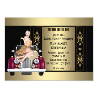 Art Deco Roaring 20's Birthday Party 13 Cm X 18 Cm Invitation Card