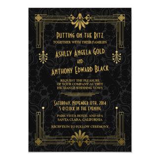 "Art Deco Roaring 20s Black Gold Wedding Invitation 5"" X 7"" Invitation Card"