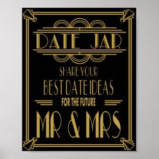 Art Deco Roaring 20's Date Jar wedding party Print