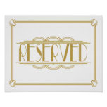 Art Deco Roaring 20's Reserved sign print