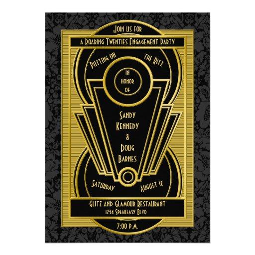 Art Deco Roaring 20s Twenties Engagement Party Invitation