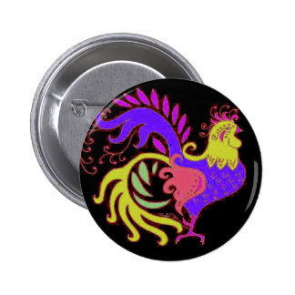 Art Deco rooster in Purple on Black 6 Cm Round Badge