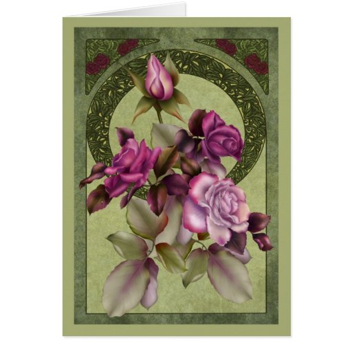 Art Deco Roses Greeting Cards