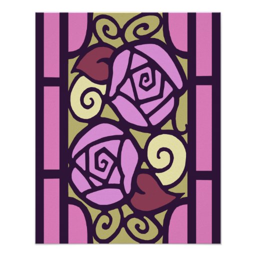 Art Deco Roses in Pink & Gold Posters