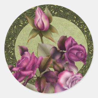 Art Deco Roses Classic Round Sticker