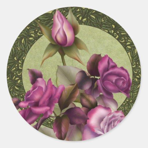 Art Deco Roses Round Sticker
