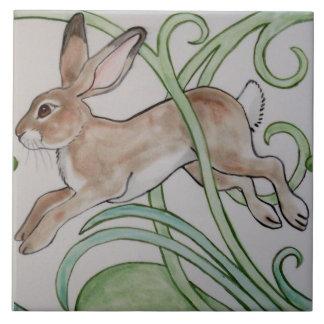 Art Deco Running Rabbit Designer Tile Trivet Green
