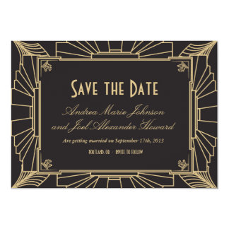 Art Deco Save the Date by Origami Prints Card
