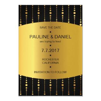 Art Deco Save The Date Golden Drops Vip 9 Cm X 13 Cm Invitation Card