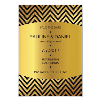 Art Deco Save The Date Golden Zig Zag Vip 9 Cm X 13 Cm Invitation Card