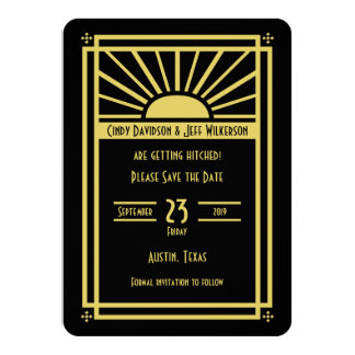 Art Deco Save the Date Invitation