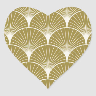 Art deco,scallop,pattern,gold,white,silver,chic, heart sticker