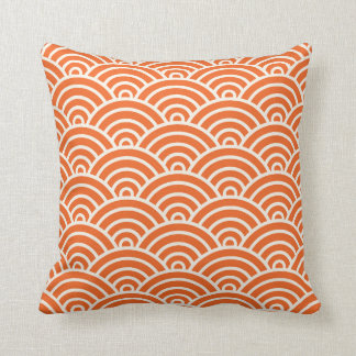 Art Deco Scallop Pattern Orange Cushion