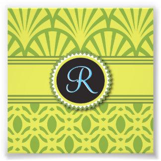Art Deco Scalloped Pastel Lime Monogram Photograph