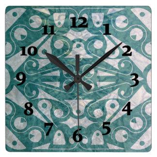 ART DECO SCANDINAVIAN GREEN by Slipperywindow Square Wall Clock