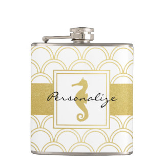 Art Deco Seahorse Faux Gold Nautical Vintage Hip Flask