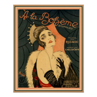 Art Deco Sheet Music A La Boheme 16 x 20 Poster