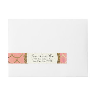 Art Deco Shell Faux Gold Foil RSVP Return Address Wraparound Address Label