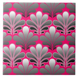 Art Deco Shell Pattern, Gray and Fuchsia Pink Ceramic Tile