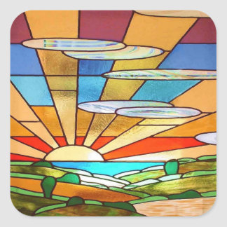Art Deco Stained Glass 1 Square Sticker