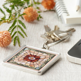 Art Deco Stained Glass 2 Silver-Colored Square Key Ring