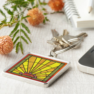 Art Deco Stained Glass 3 Silver-Colored Square Key Ring