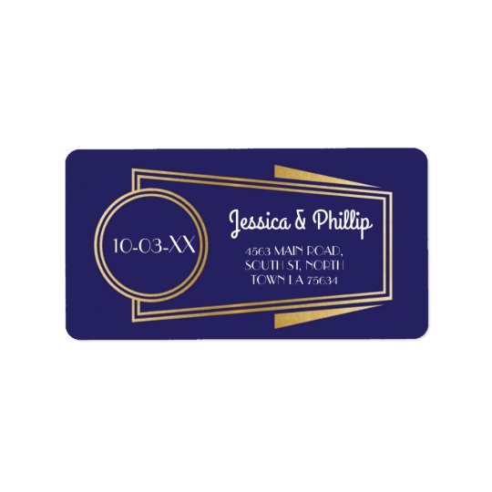 Art Deco Stickers Navy Gold Address Labels