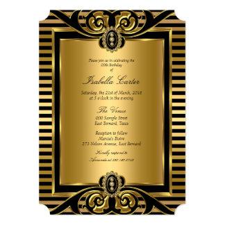 Art Deco Stripe Gold Black Birthday Party 2 13 Cm X 18 Cm Invitation Card