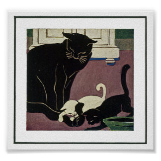Art Deco Style Cat and Two Kittens Posters