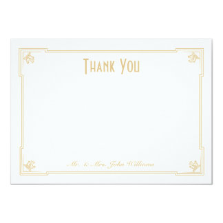 Art Deco Style Flat Thank You Note Card Invitation