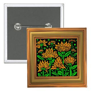 Art Deco Style Flowers (Frame effect border) 15 Cm Square Badge