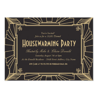 "Art Deco Style Housewarming Party Invitation 5"" X 7"" Invitation Card"