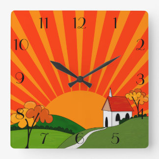 Art Deco Style Landscape with Church Clocks