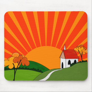Art Deco Style Landscape with Church Mouse Pad