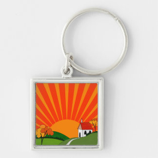 Art Deco Style Landscape with Church Silver-Colored Square Key Ring