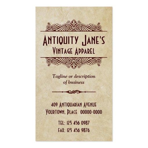 Art Deco Style Parchment Business Card Template