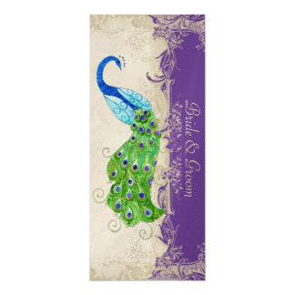 Art Deco Style Peacock Purple n Cream Vintage Lace Card