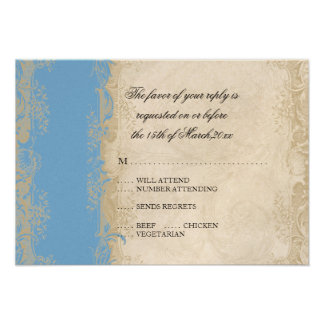 Art Deco Style Peacock Sky Blue Vintage Lace Personalized Invite