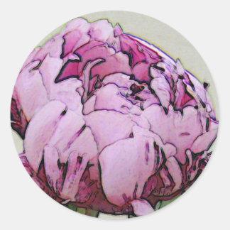 Art Deco Style Peony Flower Round Sticker
