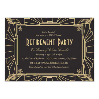 Art Deco Style Retirement Party Invitation