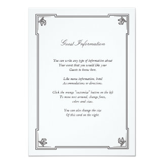 Art Deco Style Wedding Insert Card 11 Cm X 16 Cm Invitation Card