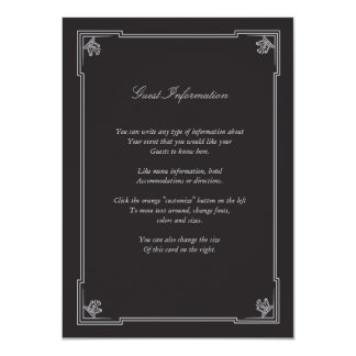 Art Deco Style Wedding Insert Card (Silver) 11 Cm X 16 Cm Invitation Card