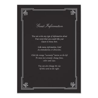 Art Deco Style Wedding Insert Card (Silver) 11 Cm X 16 Cm Invitation Card