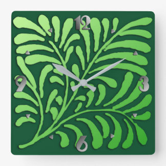 Art Deco Stylized Fern, Shades of Green Square Wall Clock
