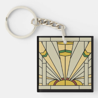 Art Deco Sunshine Double-Sided Square Acrylic Key Ring