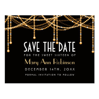 Art Deco Sweet 16 Save The Date Gold String Lights Postcard